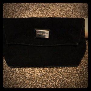 Giorgio Armani Clutch Bag Black Velvet Fold Over